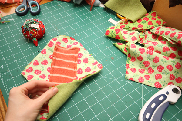 Pin the right side of the top and back layer together (the core will face out for this step)